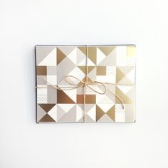 Geometric Pattern Card in Gold Foil, boxed set - Aileen Cheng Design