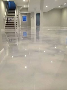 Gray white epoxy metallic floor resin epoxy pinterest garage flooring floors and i love - Painting basement floor painting finishing and covering ...