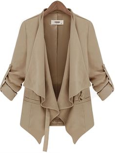 Beige Long Sleeve Belt Casual Trench Coat US$37.38