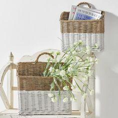 Basket Planters, Rattan Basket, Wicker, Farmhouse Style Decorating, Farmhouse Decor, Two Tone Walls, Farmhouse Table Lamps, Baskets On Wall, Wall Basket