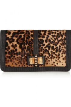 Christian Louboutin sweet charity calf hair and leather clutch $1,595