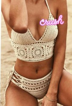 Best Free Crochet Bikini Patterns 2019 - Page 10 of 46 Motif Bikini Crochet, Crochet Bra, Crochet Halter Tops, Crochet Crop Top, Crochet Clothes, Diy Clothes, Diy Crochet Swimsuit, Crochet Lingerie Pattern, Crochet Bathing Suits