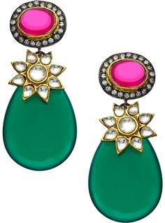 Blossom Box Jewelry Gold Quartz Onyx And Cz Teardrop Earrings on shopstyle.com