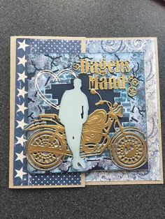 TT man and bike male Masculine Birthday Cards, Birthday Cards For Men, Man Birthday, Masculine Cards, 123 Cards, Scrapbook Cards, Scrapbooking, Suit Card, Fathers Day Cards