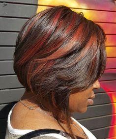 Ethnic Hair Inverted Layered Bob Medium Length | Short Hairstyle 2013