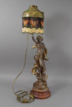 Große figürliche Jugendstil Tischlampe sig. Julien Caussé  l étoile du berger