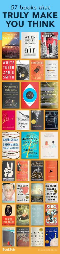 A great reading list of books that will make you think, from classic bestselling fiction to teen books to inspirational nonfiction.