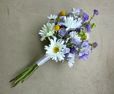 Daisy, Sweet Peas, and Billy Balls Artificial Wedding Bouquet! by Lilywinkel