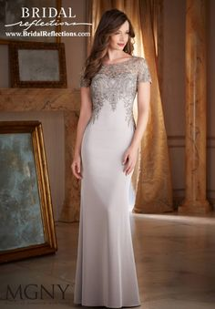 Wedding Dresses, Bridesmaid Dresses, Prom Dresses and Bridal Dresses MGNY Evening Dresses - Style 71402 - MGNY by Mori Lee, Fall Beaded Embroidery on Silky Crepe Mother of the Bride Dress Designed by Madeline Gardner. Bride Gowns, Bridal Dresses, Bridesmaid Dresses, Prom Dresses, Formal Dresses, Mother Daughter Wedding, Mother Of The Bride, Evening Dresses With Sleeves, Evening Gowns