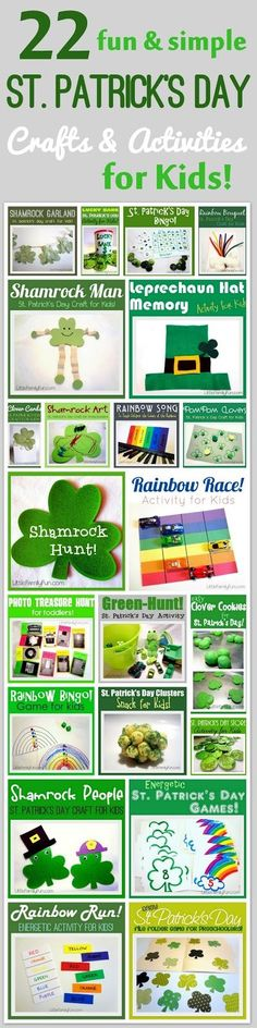 Lots of fun and SIMPLE ideas for St. Patrick's Day! Crafts & Activities for kids.