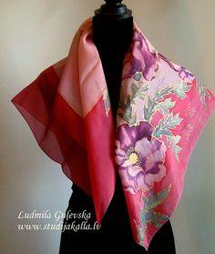 Natural silk hand painted scarf crimson pink by Studijakalla