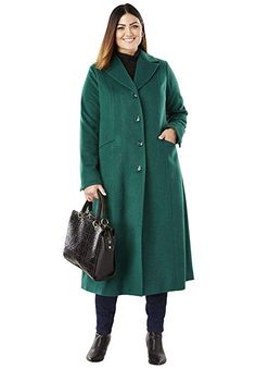 8801c2c5d6 Jessica London Women's Plus Size Full Length Wool Blend Coat - Dark  Emerald, ...
