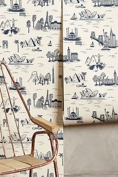 cities toile wallpaper by rifle paper co.