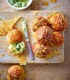 Cheesy rolls with garlic and herb butter