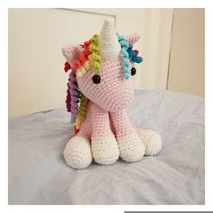 Ravelry: Unicorn pattern by Mamma Mailan Crochet Unicorn Pattern Free, Crochet Horse, Crochet Animal Amigurumi, Amigurumi Patterns, Amigurumi Doll, Crochet Animals, Kawaii Crochet, Cute Crochet, Stuffed Animal Patterns