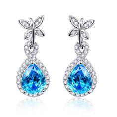 925 Sterling Silver Jewelry Butterfly Decoration 5.5Ct Pear Cut Blue Topaz Drop  Earring Blue Earrings 706318f8f8a5