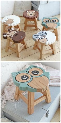 Cute Children's Wooden Animal Stools diy beginner diy pallet diy projects diy rustic diy woodworking Diy Wooden Projects, Woodworking Projects Diy, Wooden Diy, Wood Crafts, Woodworking Tools, Woodworking Techniques, Woodworking Furniture, Wooden Signs, Diy Crafts