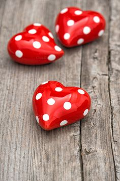 Red heart with polka dots