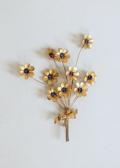Vintage 1940s Over-sized Brass and Blue Rhinestone Flower Brooch