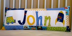Appliqued Name pillow by SewDelia on Etsy, $45.00