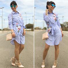 Vestido camisero bordado - Temporada: Primavera-Verano - Tags: look, ootd, fashion, moda, blogger, inspo - Descripción: Look lady con vestido camisero #FashionOlé