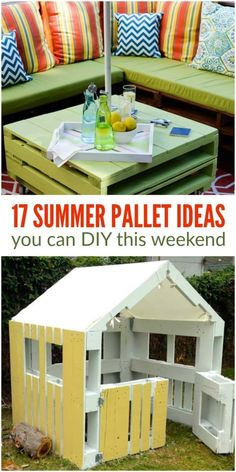Pallet ideas you can create this summer Wooden Pallet Projects, Pallet Crafts, Pallet Ideas, Diy Projects With Pallets, Outdoor Furniture Plans, Diy Pallet Furniture, Furniture Projects, Furniture Stores, Cheap Furniture