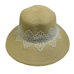 Straw Big Brim Hat Decorated with Lace