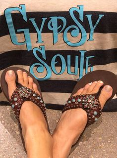 We are lovin' our new @gypsysoule flip-flop styles! #blingbling #summer #sothread #austin — at Southern Thread @ The Domain.