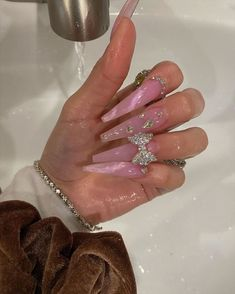 Drip Nails, Bling Acrylic Nails, Best Acrylic Nails, Bling Nails, 3d Nails, Rhinestone Nails, Perfect Nails, Gorgeous Nails, Pretty Nails