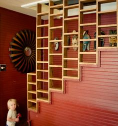 Incorporating shelving into an open stairwell