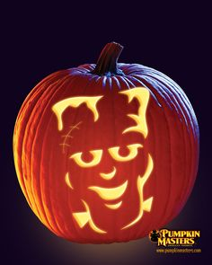 """""""Happy Frank"""" pattern from the Pumpkin Masters Carving Party Kit."""