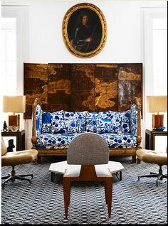 Lorenzo Castillo`s livingroom, Josef Frank's La Plata on the sofa.