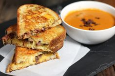 Smoked Brisket Grilled Cheese Sandwiches  (I used smoked creamy jack cheese)
