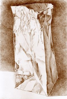 ART DRAWING Paper Bag sepia pencil drawing kitchen by workingwoman, $35.00