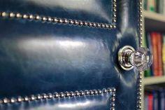 Leather door with nailhead trim, an Amy Hirsch design Hirsch Design, Soundproof Windows, Sound Proofing, Interior Barn Doors, Diy Door, Nailhead Trim, Door Design, Soft Furnishings, Colorful Interiors