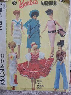 Barbie Midge Miss Barbie Doll Wardrobe Square Dance Bandana Dress Vintage 1964 Mattel Pattern McCall's 7429 Costume Patterns, Doll Clothes Patterns, Clothing Patterns, Cool Patterns, Vintage Patterns, Stitch Patterns, Vintage Barbie, Dress Vintage, Bandana Dress