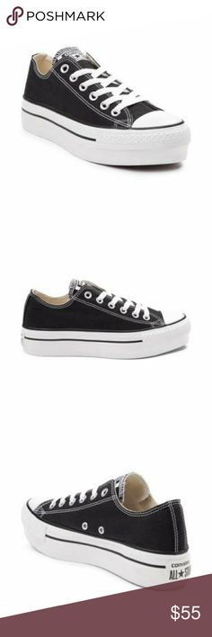 """Womens Converse All Star Lo Platform Sneaker Product Details The classic Converse All Star Lo Chucks just got a feminine lift! Black canvas upper, 6 eyelet lace-up, and 2"""" platform beneath a rubber bumper and toe box. Converse Shoes Sneakers"""