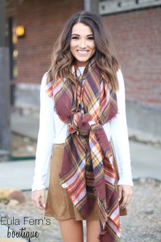 Cinnamon Spiced Blanket Scarf $18 Snap Out of It Suede Skirt $28