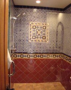Latin Theme Bathrooms - mediterranean - Bathroom - San Francisco - Latin Accents, Inc. Spanish Style Bathrooms, Spanish Bathroom, Mediterranean Bathroom, Spanish Tile, Bathroom Styling, Bathroom Interior Design, Bathroom Ideas, White Marble Bathrooms, Tile Bathrooms