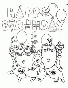 Happy Birthday From Minions Coloring Page