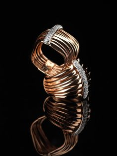 Pink gold rings with white diamonds. Excellence Collection by K di Kuore kdikuore.com