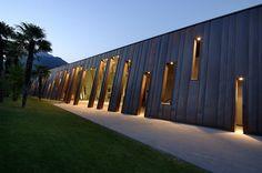 zanon architetti associati / hotel astoria, riva del garda Arch Hotel, Riva Del Garda, Decks, Landscape Design, Facade, Landscapes, Sidewalk, Walls, Shades