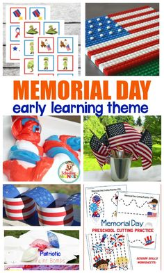 Build a Memorial Day theme or Memorial Day unit study with this collection of Memorial Day printables and activities for kids! #earlylearning #memorialday #kindergarten #preschool #thematicunit #theme