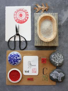 with doily on a stone and red china ink http://blogdelanine.blogspot.com/2011/03/japan-on-my-mind.html