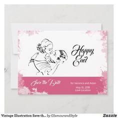 Vintage Illustration Save the Date Fashion Illustration Vintage, Couple Illustration, Vintage Couples, Wedding Save The Dates, Wedding Couples, Pink Flowers, Vintage Shops, Wedding Cards
