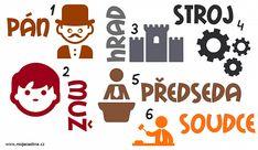 Vzory podstatných jmen pro mužský rod (přehled) - Moje čeština - Čeština na internetu zdarma W 6, Kids Education, Language, Teaching, Activities, Children, School, Literatura, Early Education