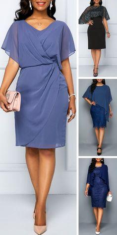 Cape Shoulder Draped Dusty Blue Surplice Chiffon Dress - New Trend Blue Dresses, Casual Dresses, Casual Outfits, Fashion Dresses, Formal Dresses, Outfits Dress, Mode Chic, Mode Style, Vestidos Plus Size