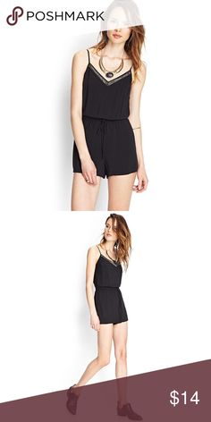 Forever 21 Black Beaded Romper Forever 21 embellished romper with tie in waist!  Worn and washed a couple times.  Great condition.  Tags:  silver jumpsuit romper play suit dress shorts Tank cami adjustable straps Forever 21 Dresses Mini