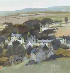 Artwork by Moira Huntly, Village near Colne. Why do you think your stomach hurts