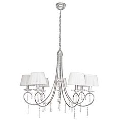 Seven-light chandelier with a polished chrome finish and crystal detail.Product: ChandelierConstruction Material: Iron, crystal and fabricColor: Polished chrome and opalAccommodates: 60 Watt BC bulbs - not includedDimensions: H x Diameter Chandelier Lighting, Lighting Concepts, Iron Chandeliers, Lighting Store, Showcase Design, Fabric Shades, Home Decor Outlet, Polished Chrome, Chandeliers